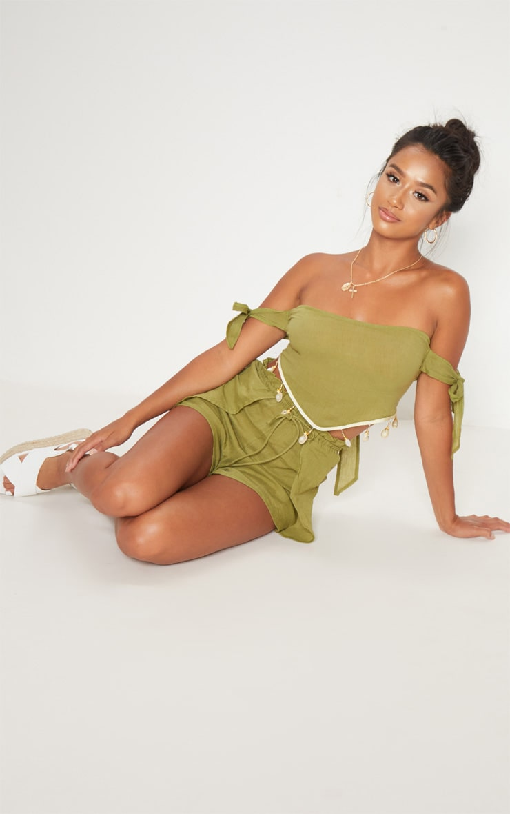 Petite Olive Cheesecloth Shell Trim Crop Top 4