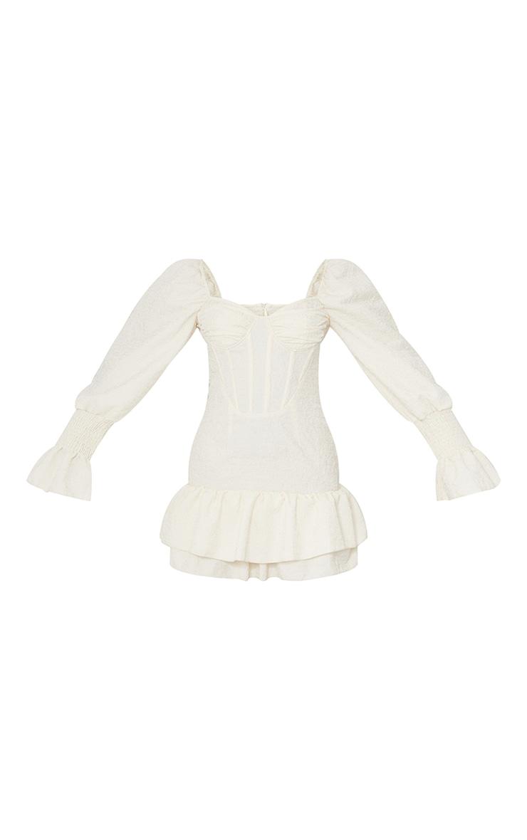 Robe moulante crêpée champagne à manches froncées et taille corset 5