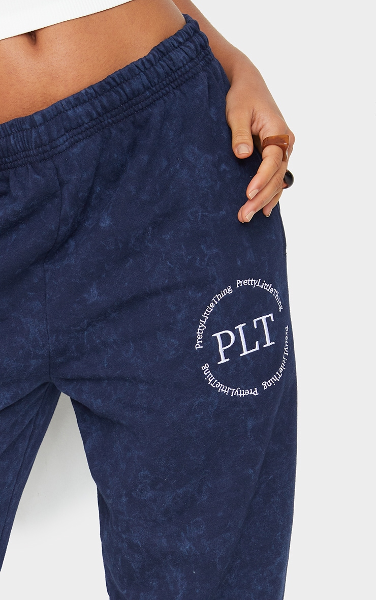 Navy Washed Health Club Embroidered Casual Joggers 4