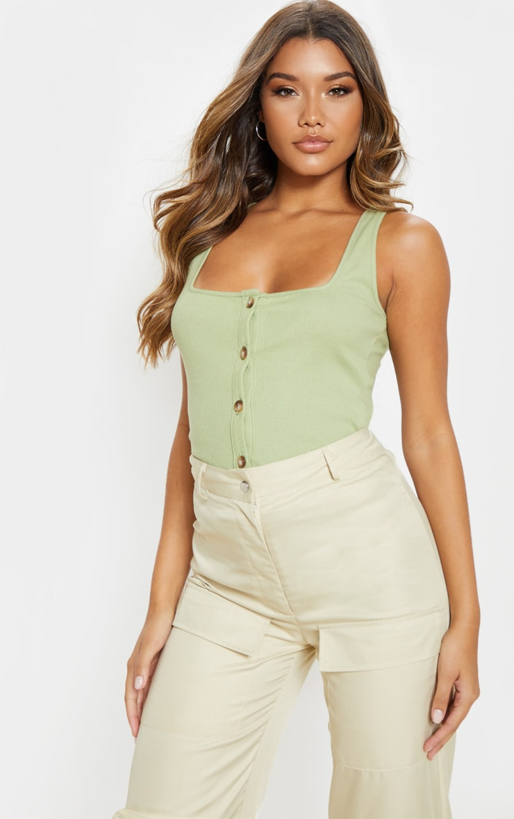 Sage Green Ribbed Button Detail Vest Top  1