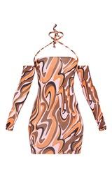 Pink Abstract Print Slinky Cold Shoulder Halterneck Bodycon Dress 5