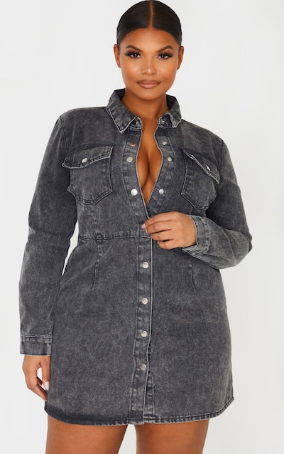 Plus Charcoal Denim Button Front Shirt Dress