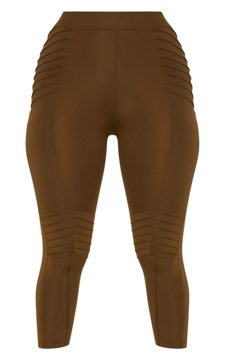 Khaki Ribbed Detail Gym Legging 3