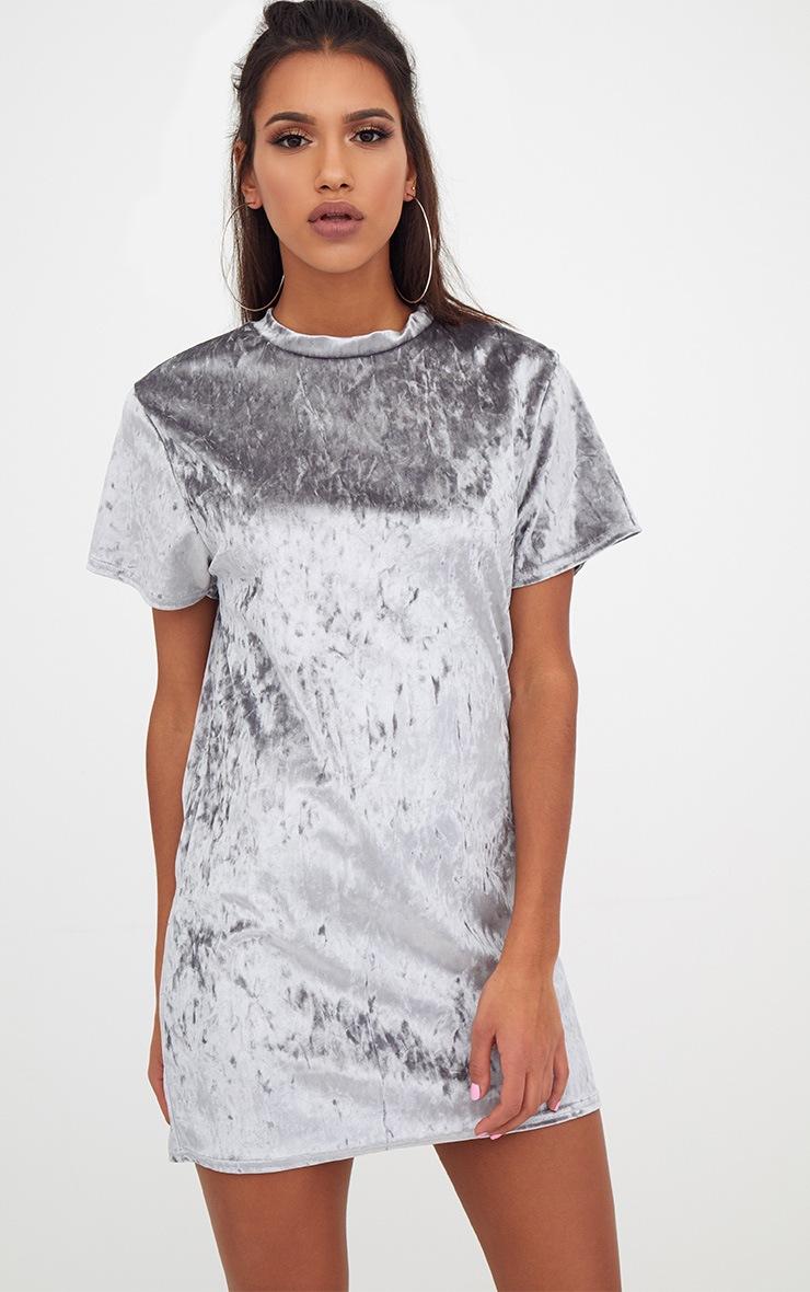 Ice Grey Velvet T Shirt Dress 1