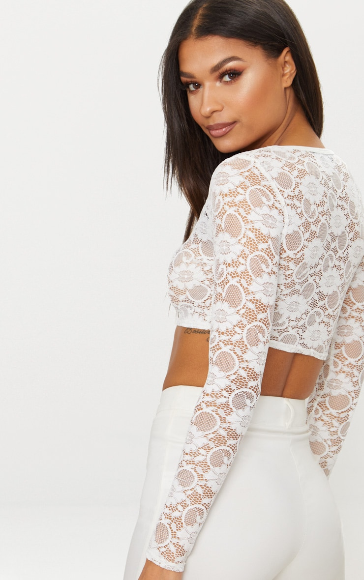 White Lace Long Sleeve Square Neck Crop Top 2