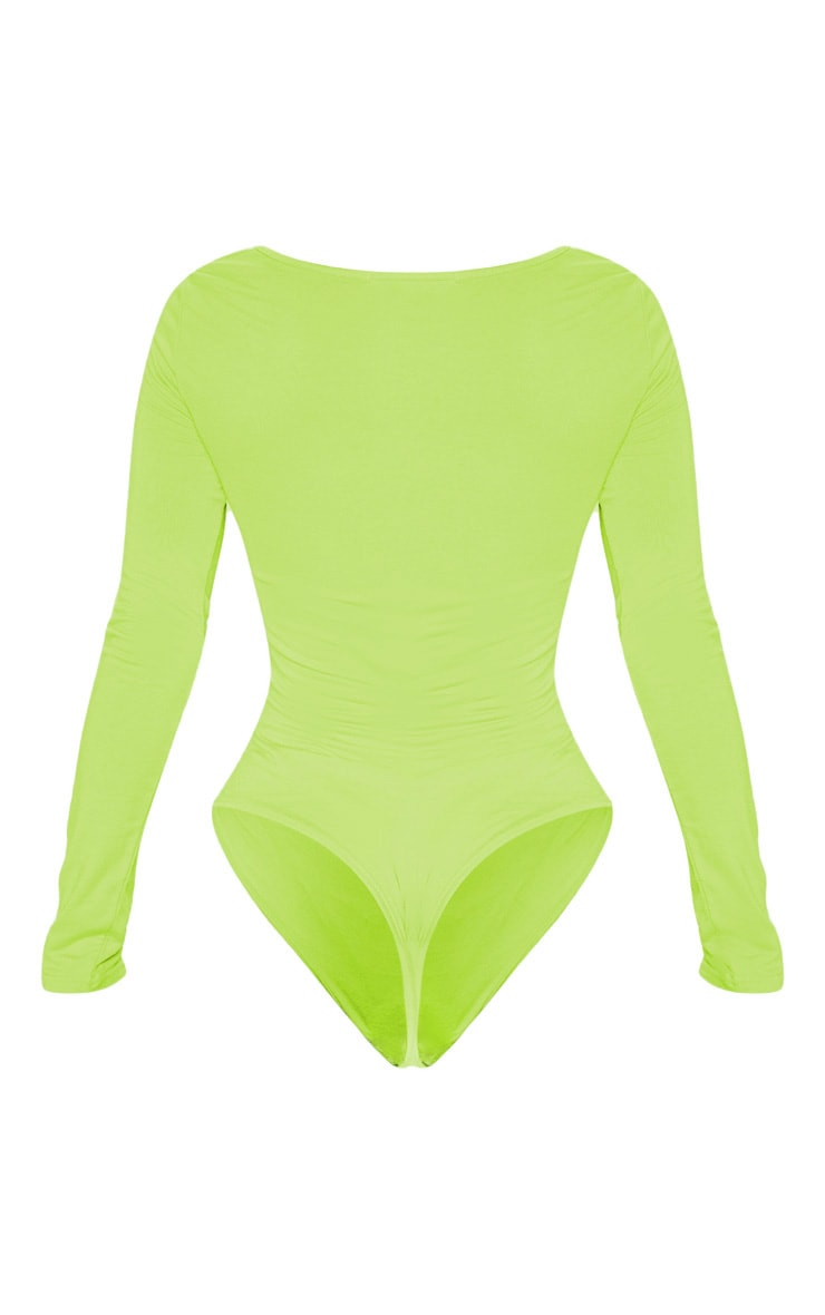 Lime Jersey Ruched Long Sleeve Bodysuit 4