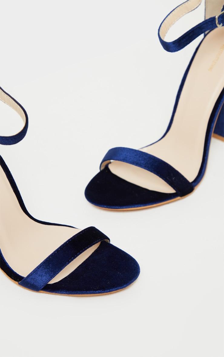 Navy Velvet May Heeled Sandals 4