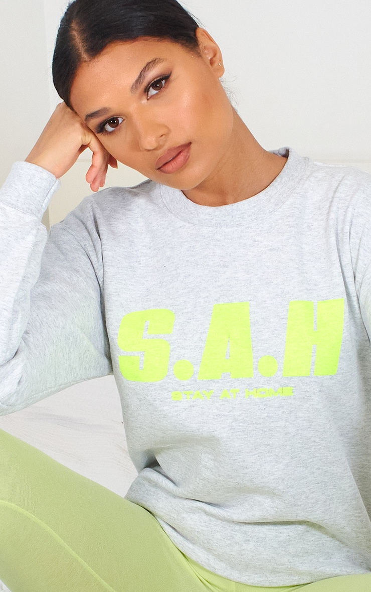 Grey Stay At Home Slogan Sweater 4