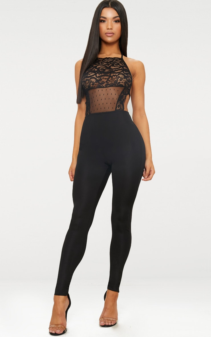 Black Lace Halterneck Jumpsuit 1