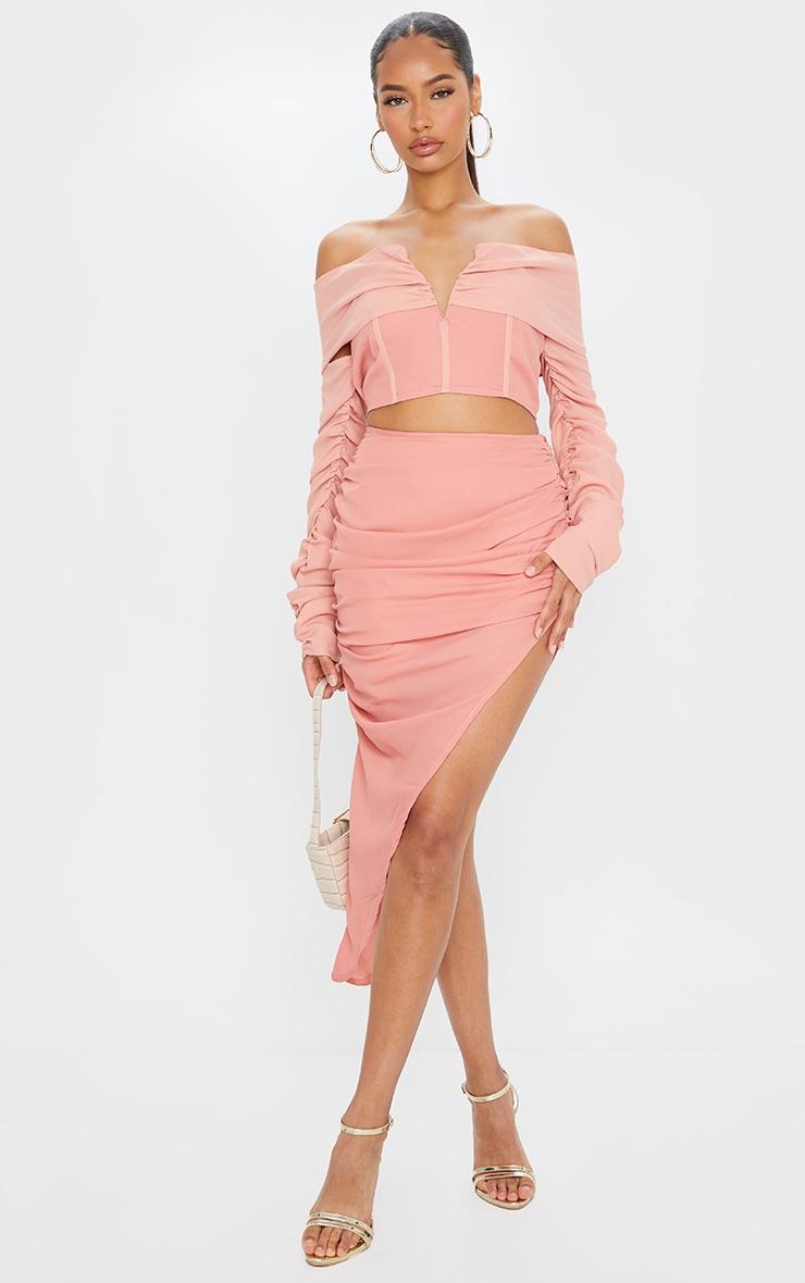 Salmon Woven Ruched Side Asymmetrical Midi Skirt 1