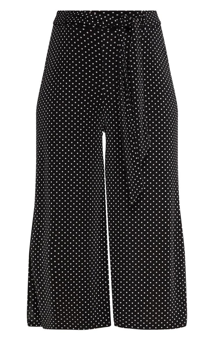 Black Polkadot Tie Waist Split Hem Detail Culotte 3