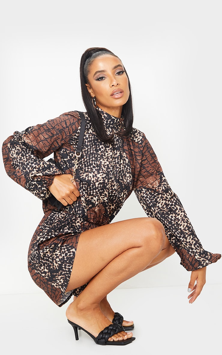 Brown Animal Print High Neck Balloon Sleeve Playsuit 3