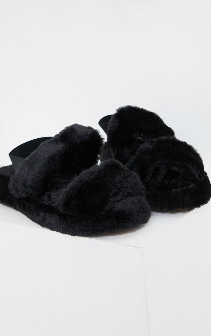 Black Fluffy Two Strap Chunky Slippers 4