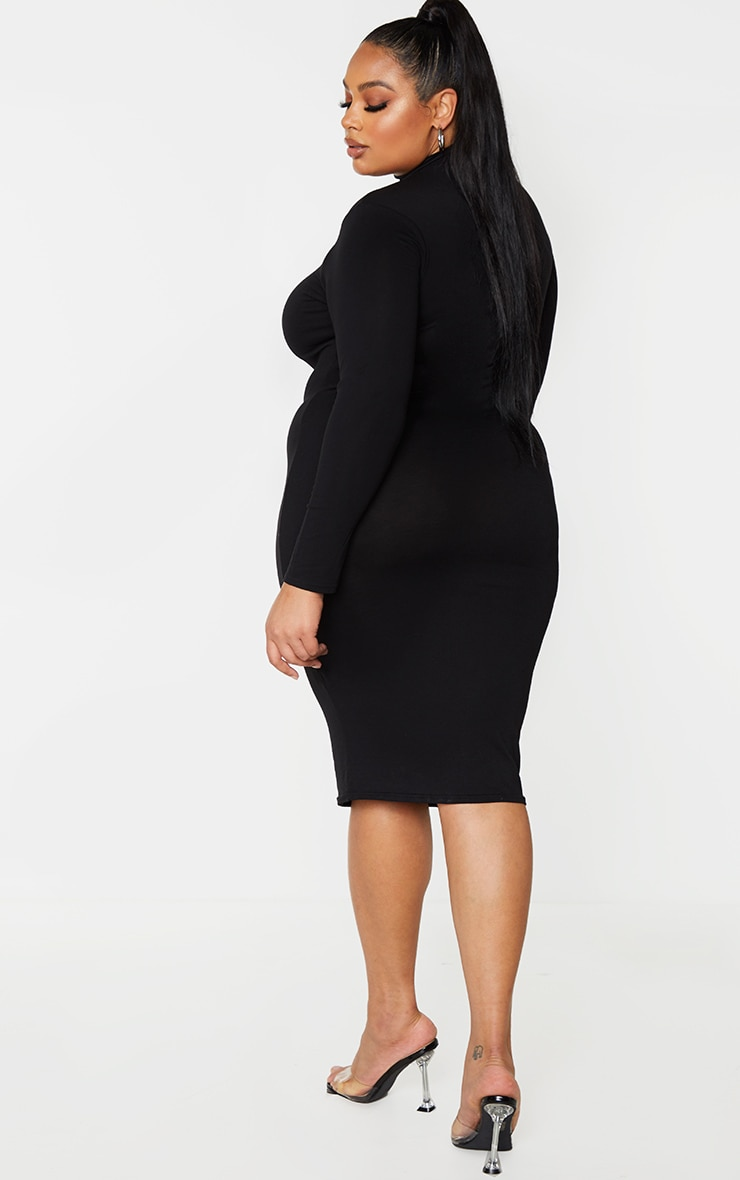 Plus Basic Black Roll Neck Midi Dress 2