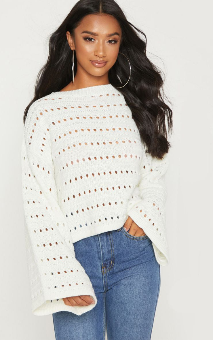 Petite Cream Flared Sleeve Sweater 1