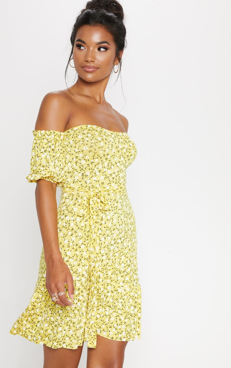 Yellow Ditsy Print Bardot Frill Hem Skater Dress  1
