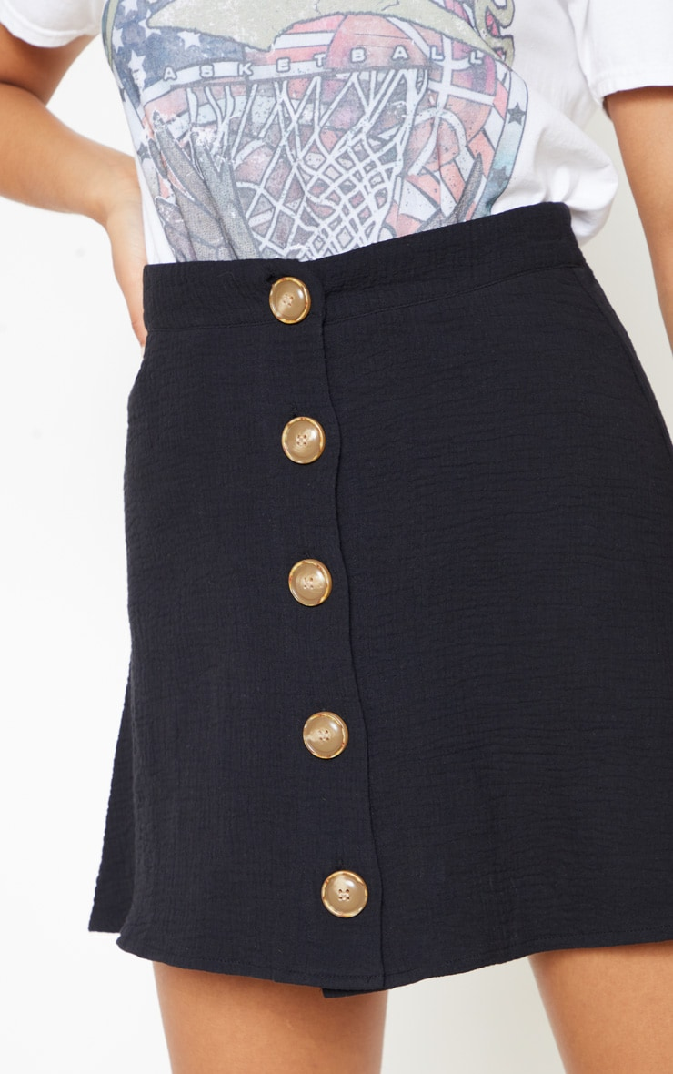 Black Button Front Linen Feel Mini Skirt 6