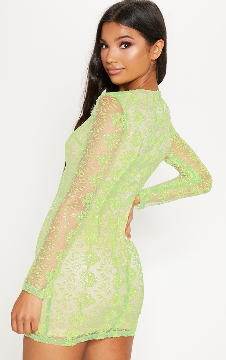 Neon Green Sequin Mesh Long Sleeve Bodycon Dress 2