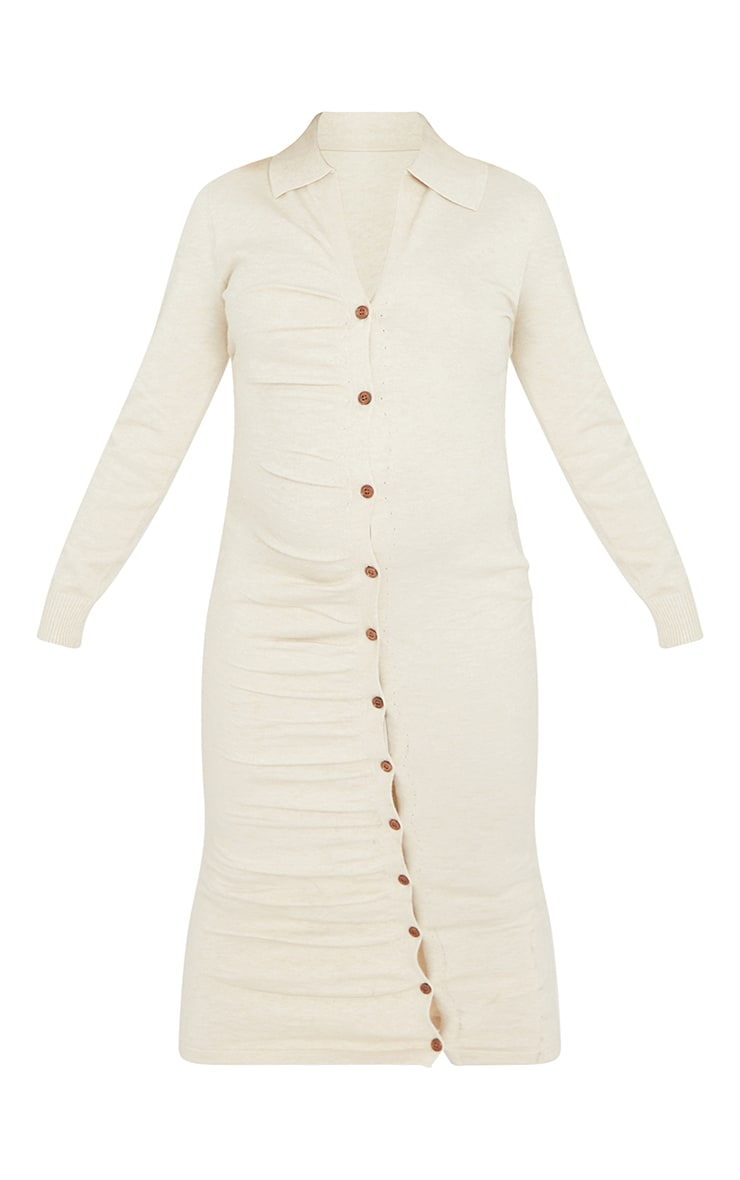 Maternity Cream Knitted Ruched Bump Midi Dress 6
