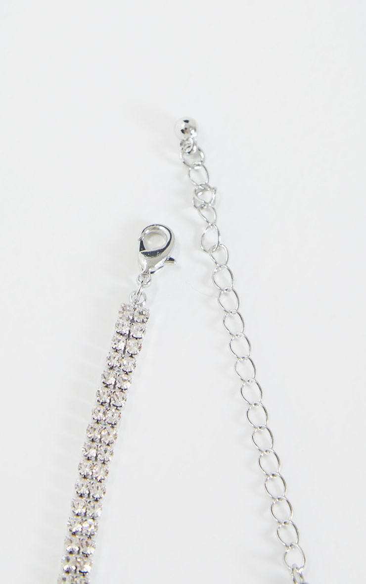 Silver Diamante Baby Girl Gothic Slogan Choker 4