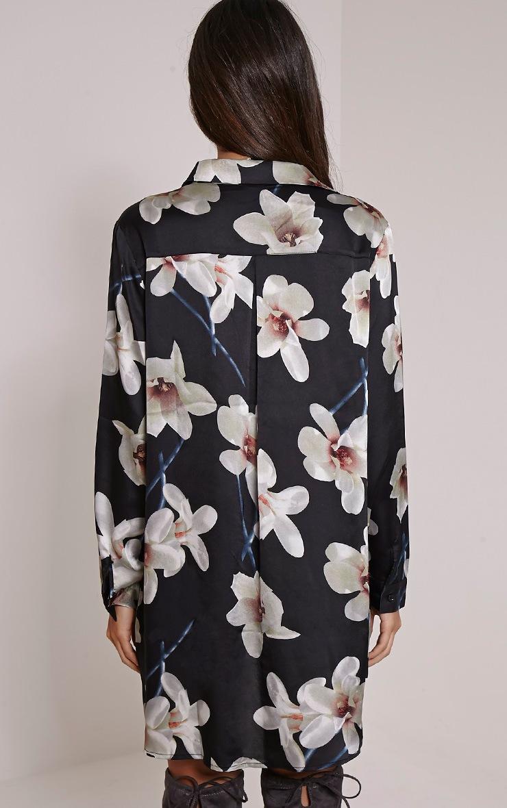 Tricia Black Floral Print Shirt Dress 2