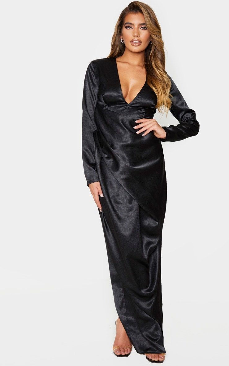 Black Satin Drape Detail Plunge Maxi Dress 1