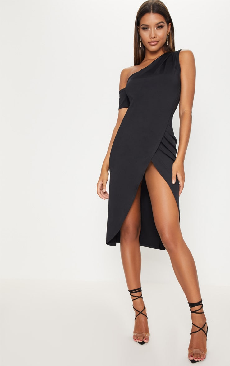 Black Slinky One Shoulder Wrap Midi Dress 1