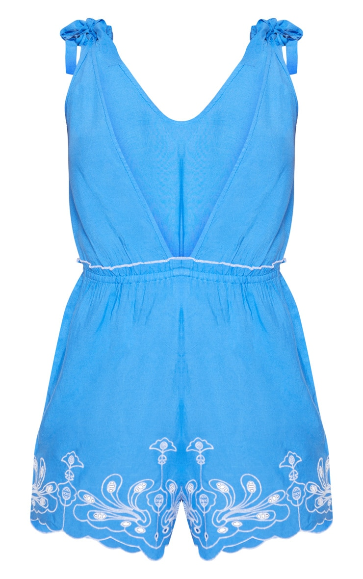 Blue Embroidered Hem Beach Playsuit 3