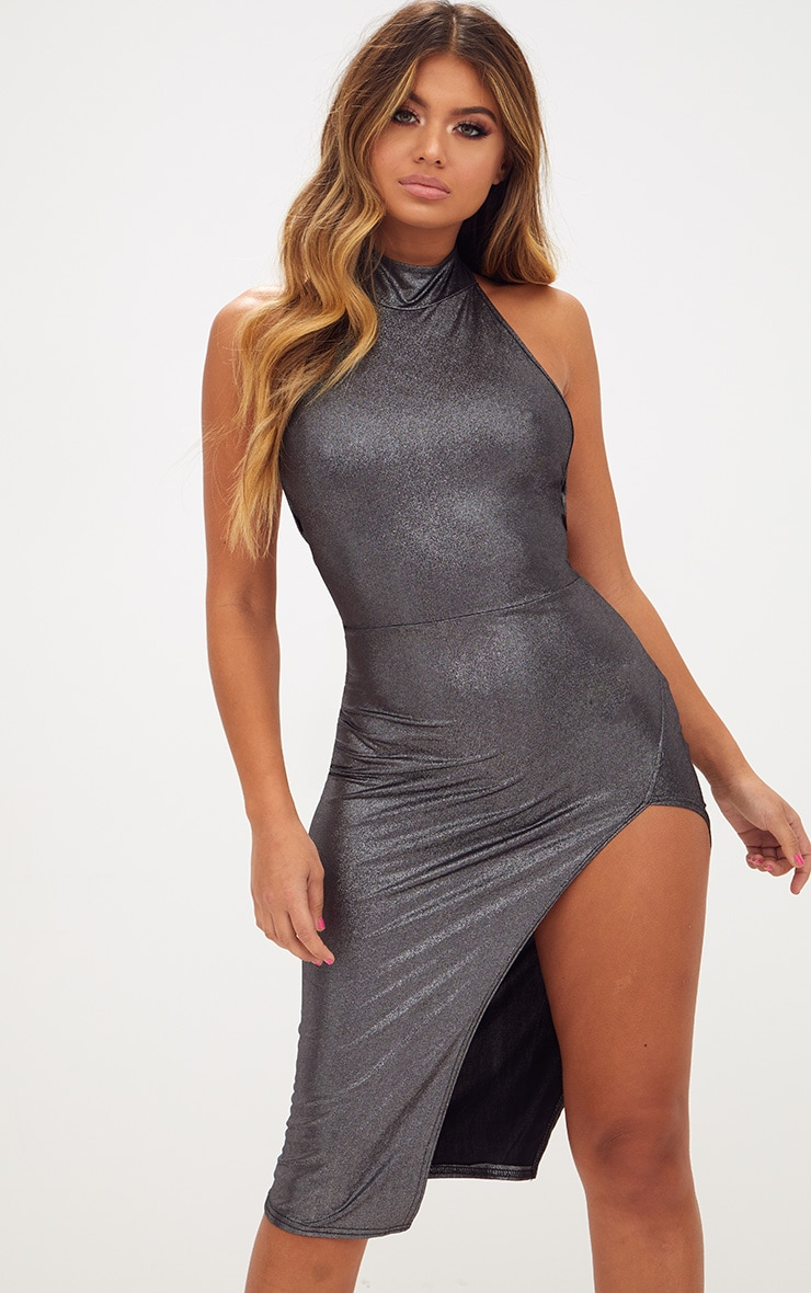 Gunmetal Metallic High Neck Side Split Bodycon Dress 1