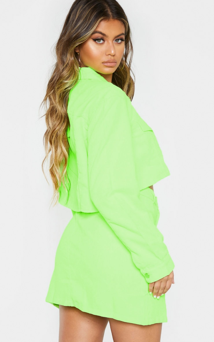Neon Lime Cord Button Down Skirt 2
