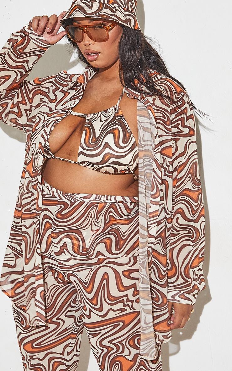 Plus Cream Animal Swirl Print Beach Shirt 7