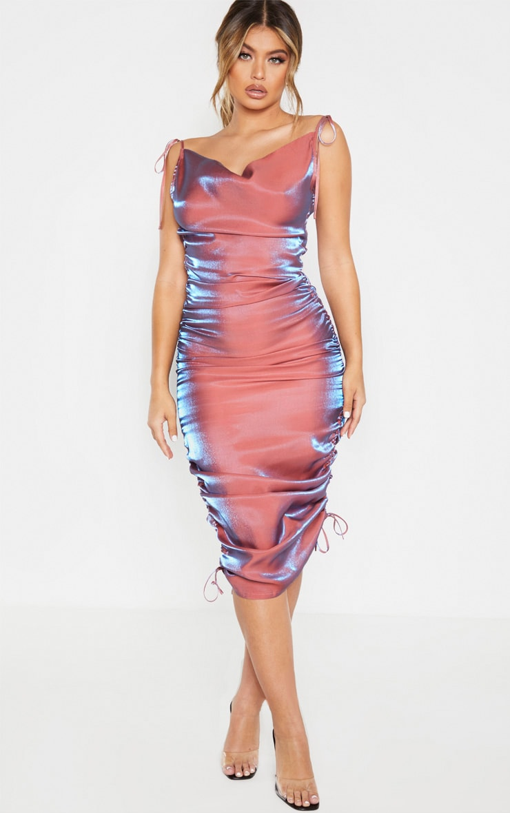 Pink Metallic Shimmer Cowl Neck Tie Strap Midi Dress 1