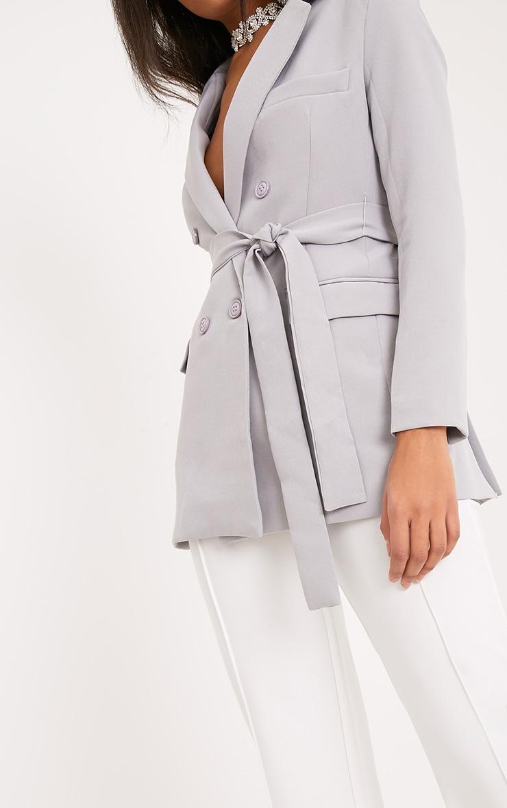 Rebecca blazer à ceinture gris clair 5