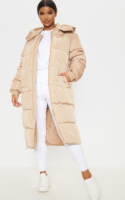 Stone Maxi Hooded Puffer