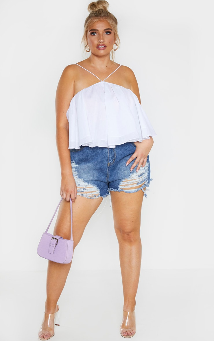 Plus White Woven Strappy Floaty Crop Top  4