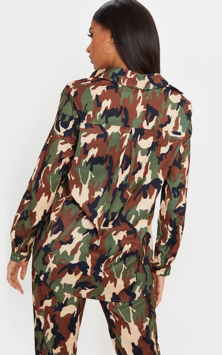 Green Camo Print Oversized Shirt 2