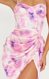 Lilac Tie Dye Print Satin Ruched Skirt Corset Detail Midi Dress 4