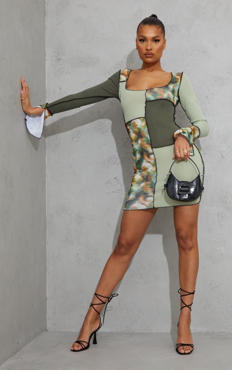 Green Tie Dye Patchwork Detail Overlock Stitch Long Sleeve Bodycon Dress 3