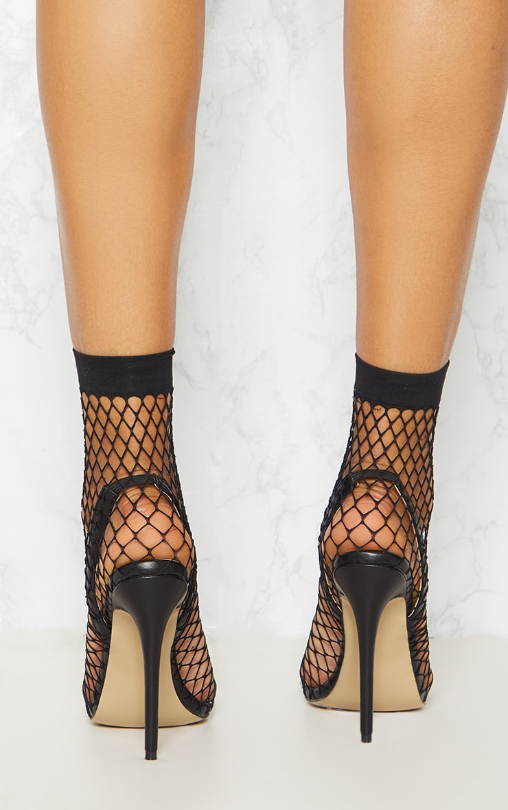 Black Fishnet Slingback Pointed Toe Heels 4
