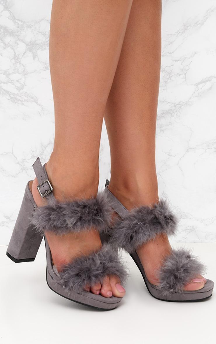 Grey Twin Strap Faux Fur Platform Sandal