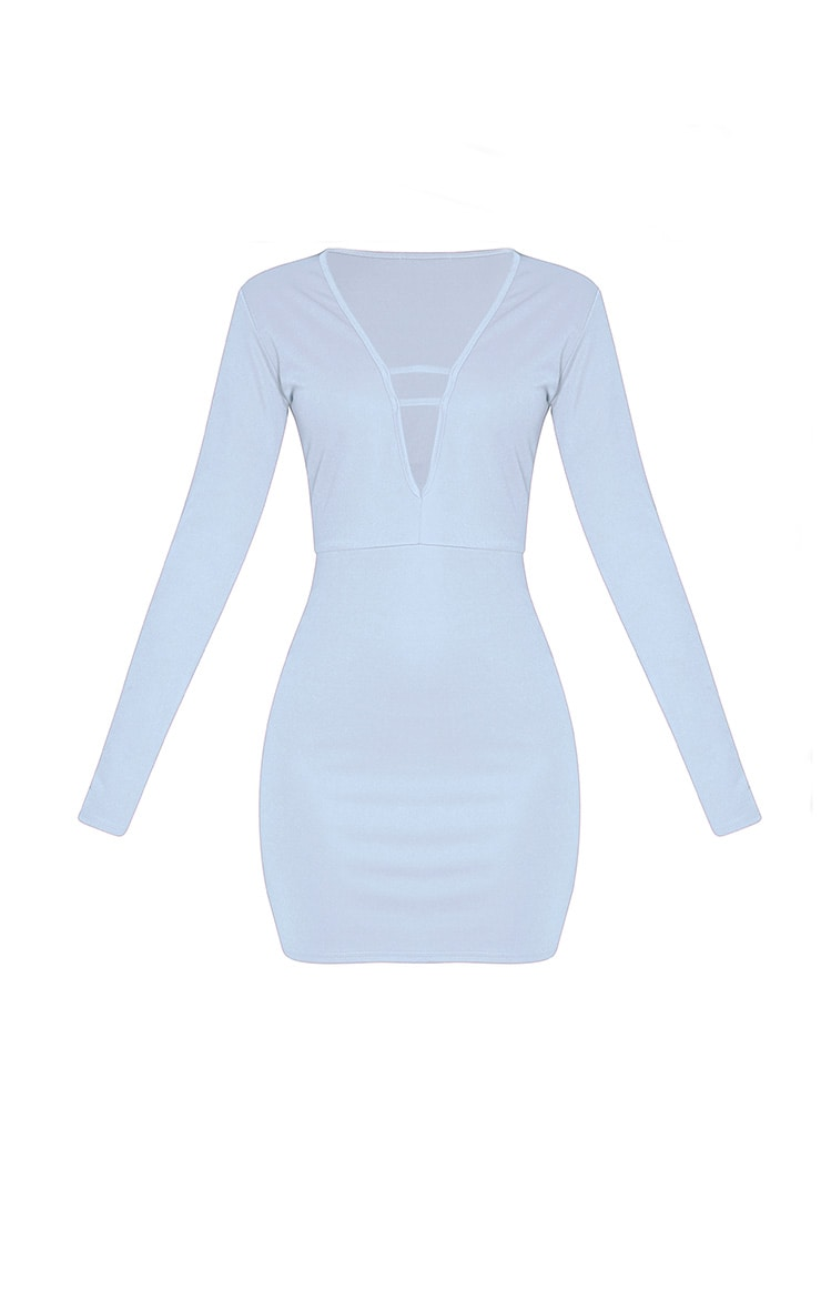 Arya Dusty Blue Strap Detail Plunge Bodycon Dress 3