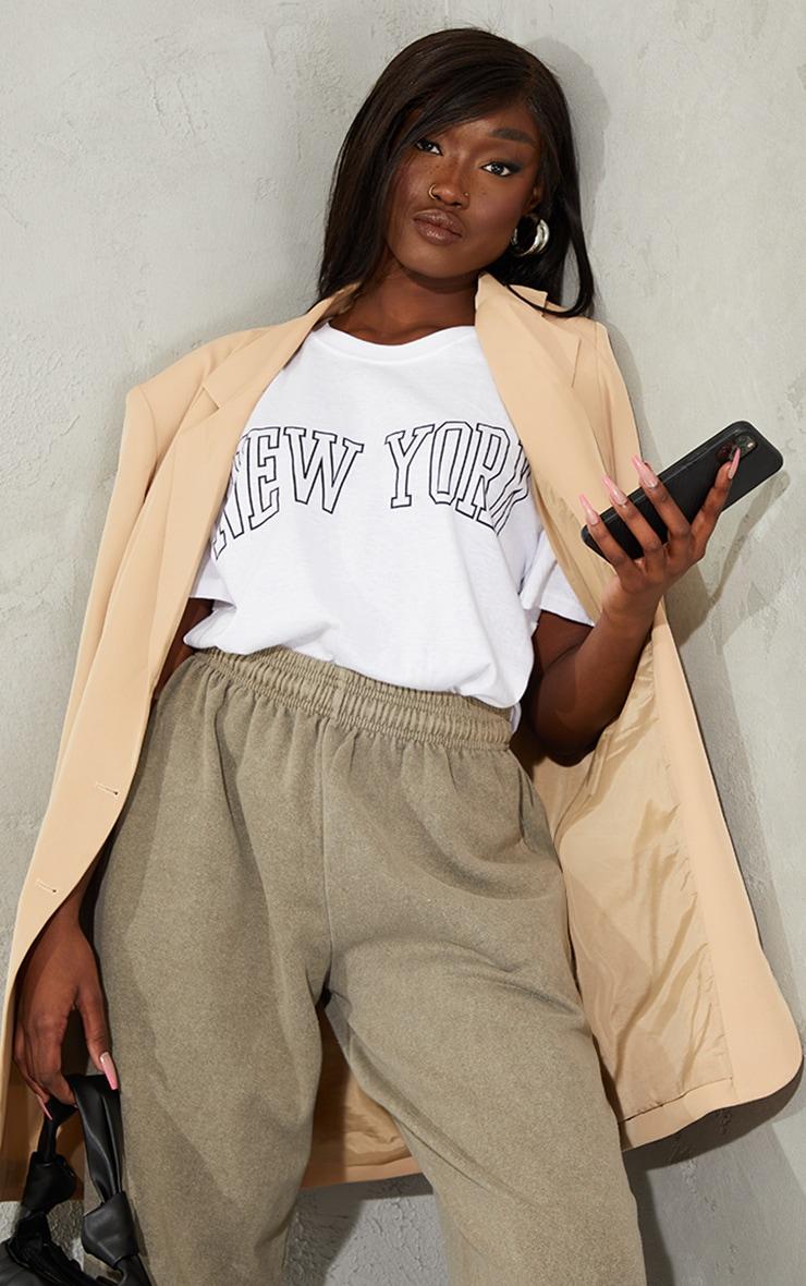 White New York Print T Shirt 1