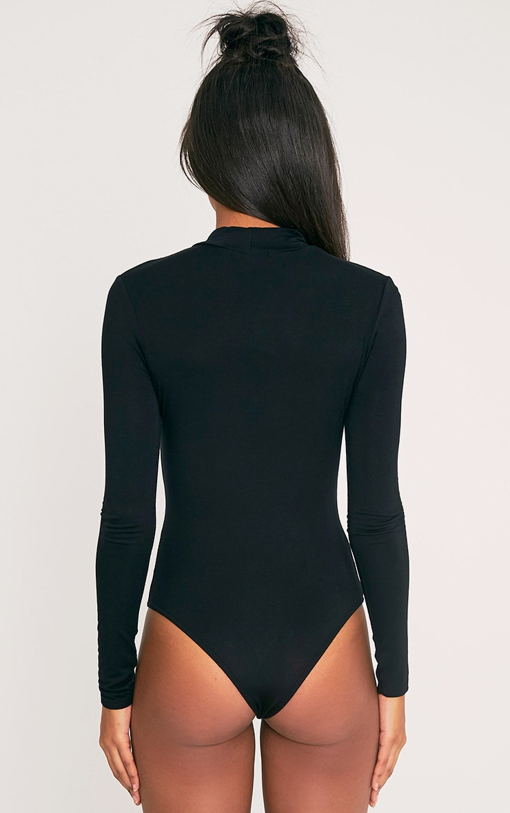 FUTURE Black Slogan High Neck Thong Bodysuit 8