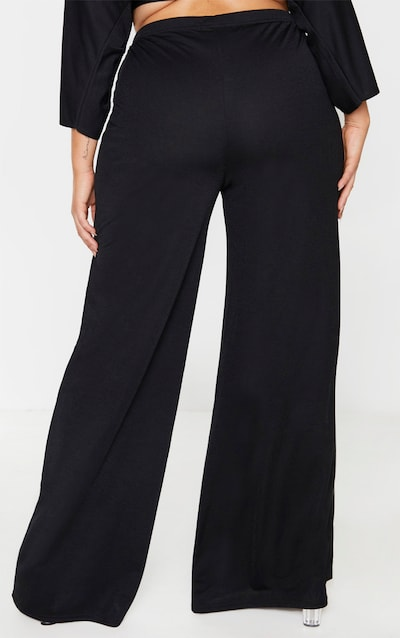 Plus Black Crepe Wide Leg Trouser