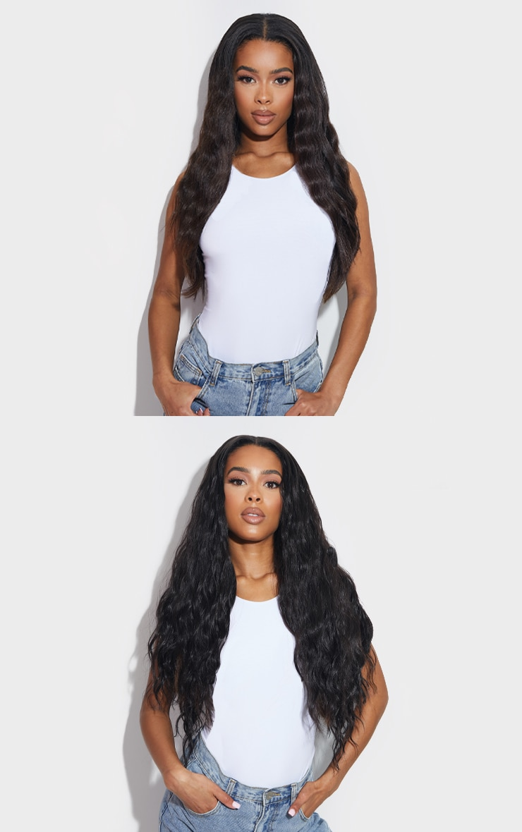LullaBellz Super Thick 26` 5 Piece Textured Wave Clip In Hair Extensions Dark Brown 3