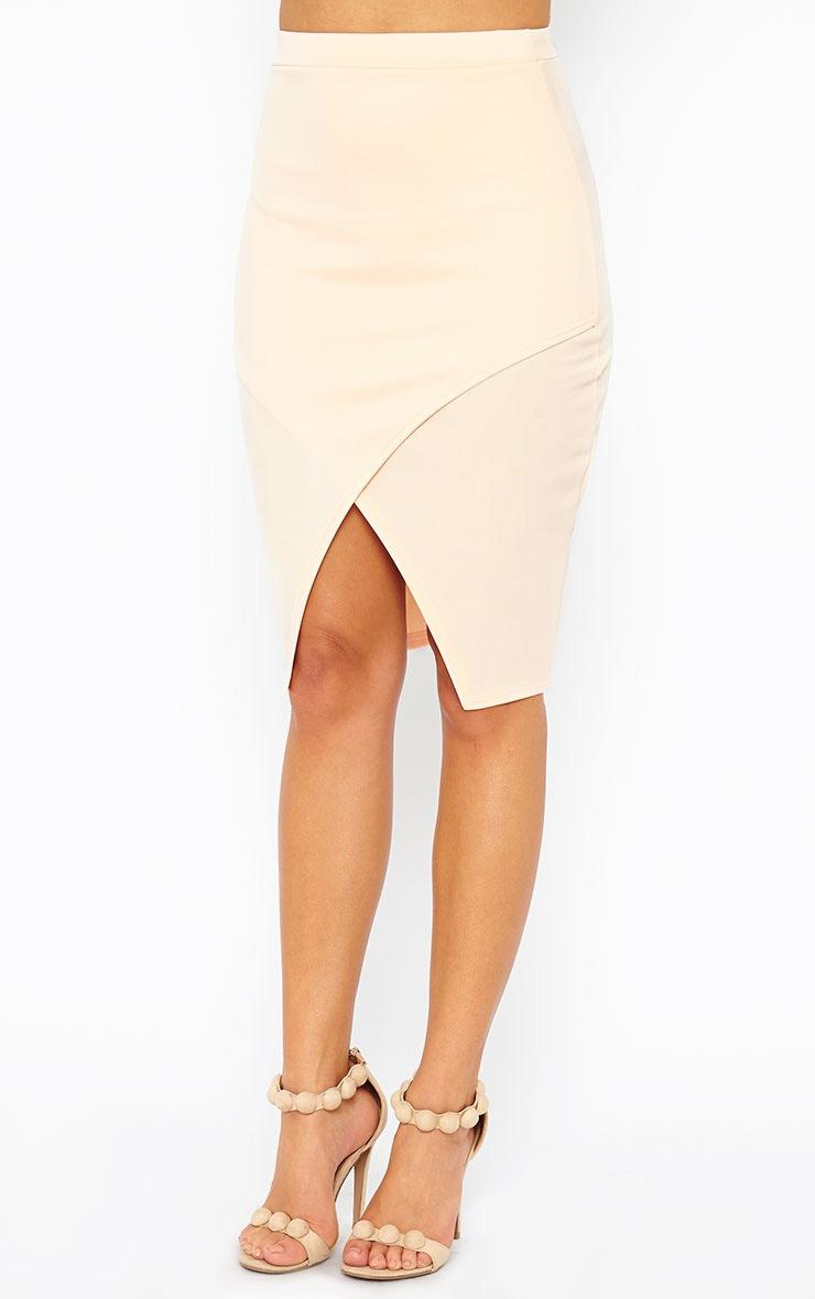 Melrose Nude Scuba Midi Skirt 3