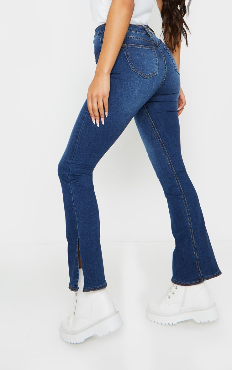 Indigo Side Split Hem Flared Jeans 3