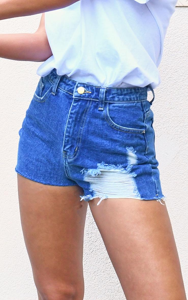 Ecru Button Waist Denim Shorts 7