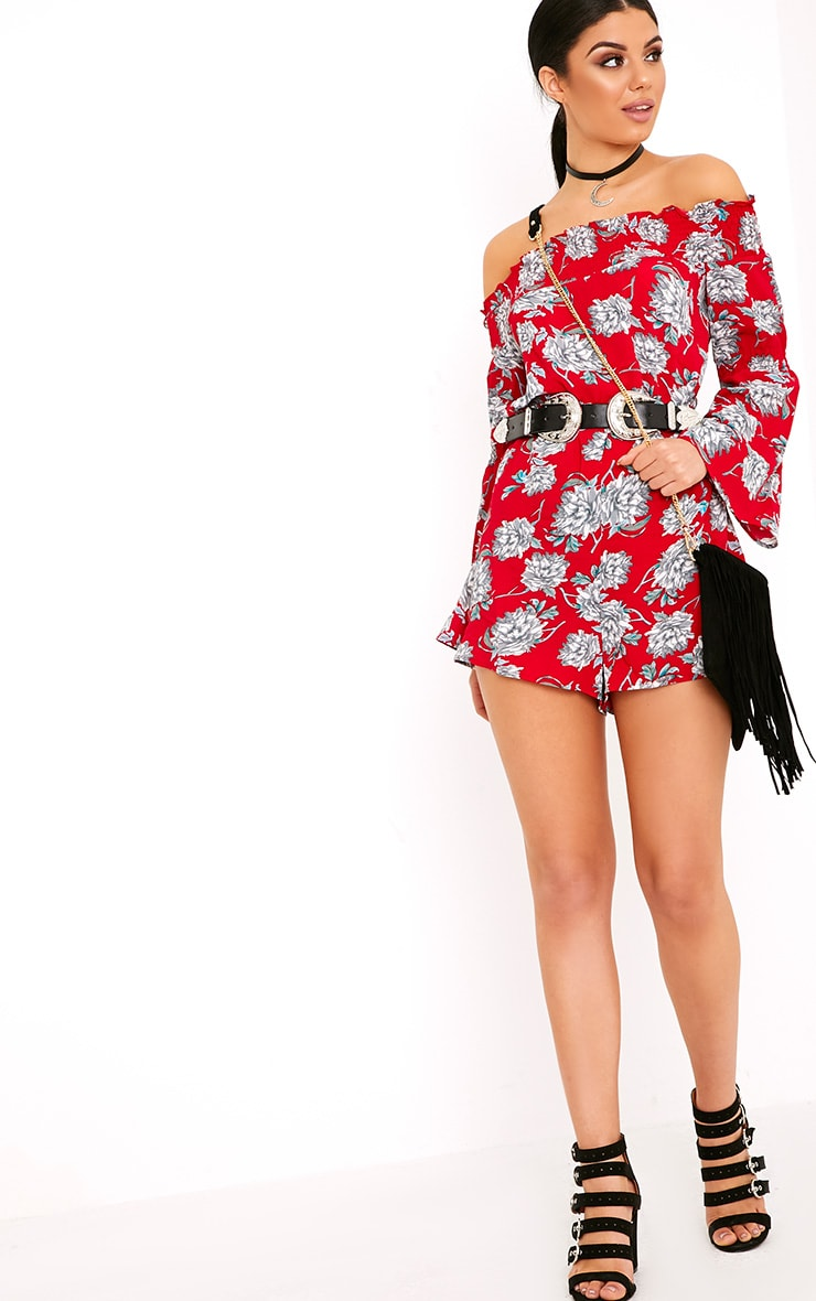 Red Floral Bardot Playsuit 4