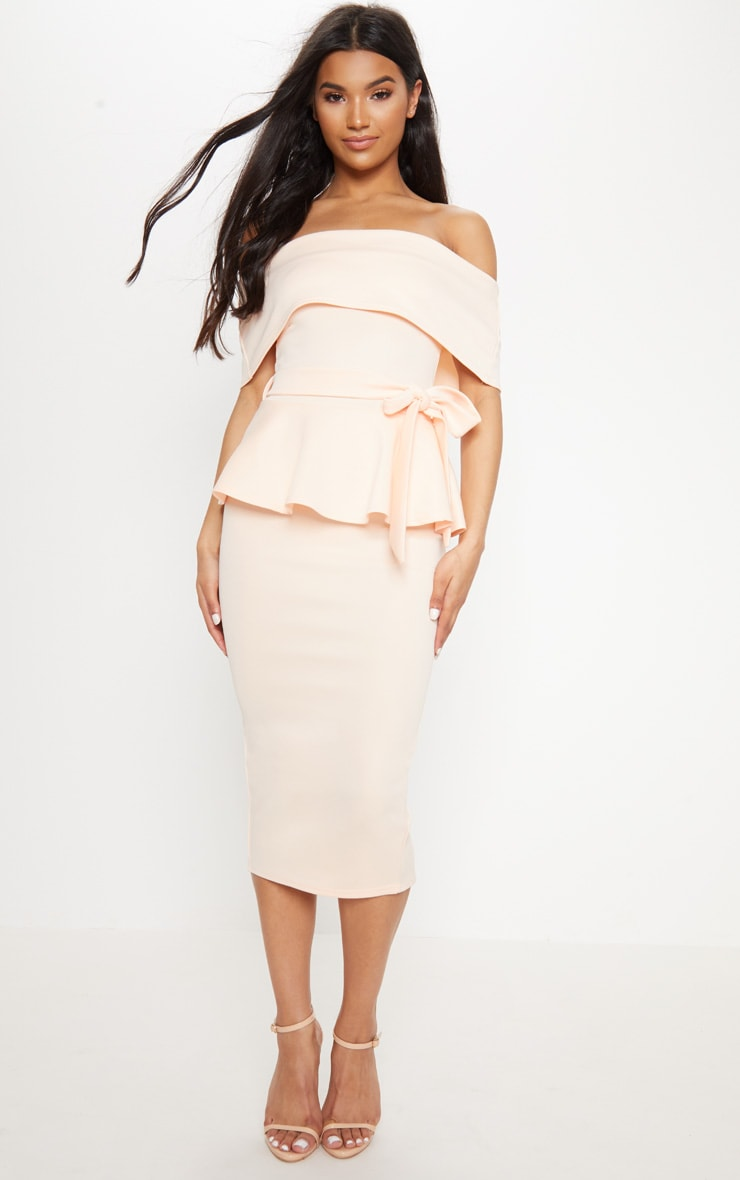 Nude Bardot Peplum Midi Dress 4